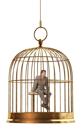 Photo for A brass birdcage hanging on a string over white  - Royalty Free Image
