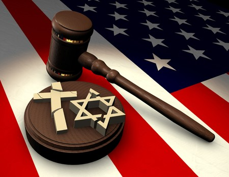 Judge's gavel smashing religious symbols of cross and star of David on an American flag