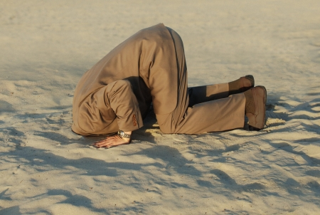 business man with his head buried in the sand