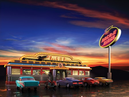Photo pour Retro American diner at dusk - image libre de droit