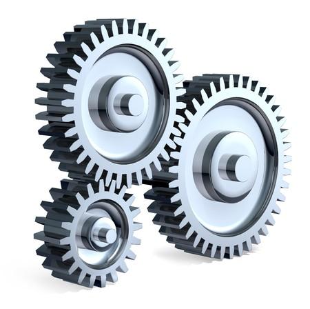 Photo pour High-Resolution 3d Art showing the meeting point of 3 Different sized chrome gears. - image libre de droit