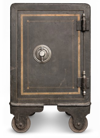 Photo pour Antique iron safe isolated on white background  - image libre de droit