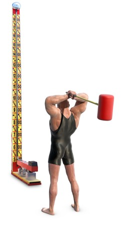 A Strongman with mallet striking a carnival strength test high-striker, isolated on white
