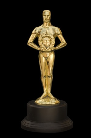A gold figure reminiscent of an Academy Award