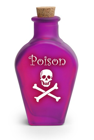 Bottle of poison on white background