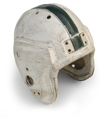 Antique leather football helmet from the 30s and 40's isolated on a white background