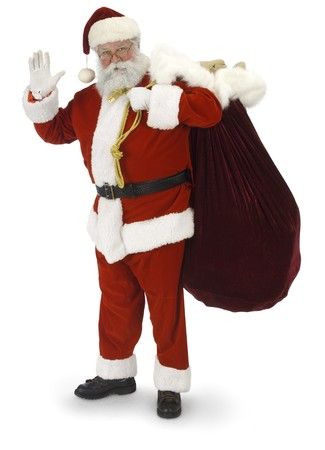 Full Santa standing, waving at the camera on a white background