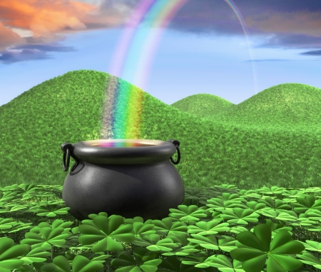 A pot at the end of the rainbow shown surounded by a lucky clover garden and roling hills of grass in the background.