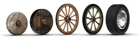 Illustration showing the evolution of the wheel starting from a stone wheel and ending with a steel belted radial tire. Shot on a white background.