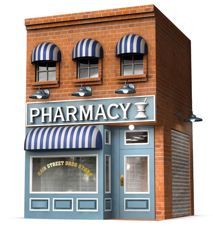 Stylized version of an iconic American drug store isolated on a white background