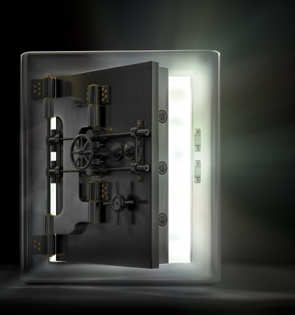 Photo pour A stainless steel safe vault with beams of light pouring out in a dark room. - image libre de droit