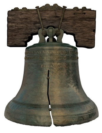 3D Recreation of the Liberty Bell on a white background