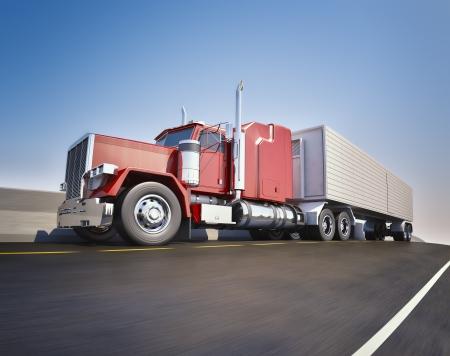 Foto de An 18 wheeler Semi-Truck sppeding on highway - Imagen libre de derechos