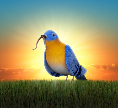 Bluebird standing in green grass, catching tha worm as the sun rises behind him