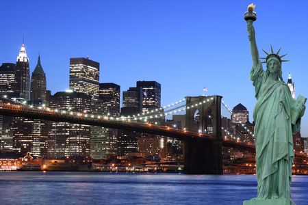 Lady Liberty and Brooklyn Bridge