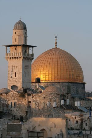 The Temple Mount in Jerusalem, including the golden Dome of the Rock