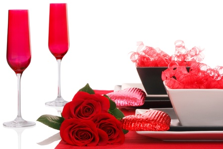 Photo for Isolated; Romantic Modern Black & White Table Setting ~ Red Champagne Flutes with Fresh Red Roses - Royalty Free Image