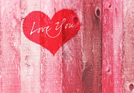 Valentines Day Holiday Love You Heart Greeting On Distressed Vintage Grunge Texture Wood Background Painted In Pink Red White