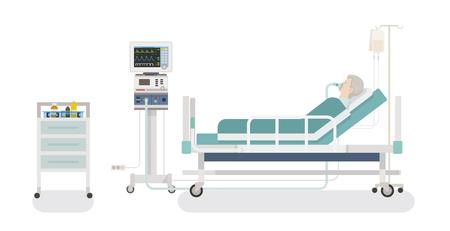 Ilustración de Inside the hospital room: a patient lying in bed with a ventilator - Imagen libre de derechos
