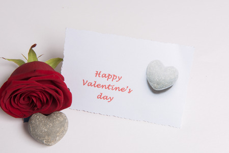 Photo pour Rose and heart and card Happy Valentine \ 's Day - image libre de droit