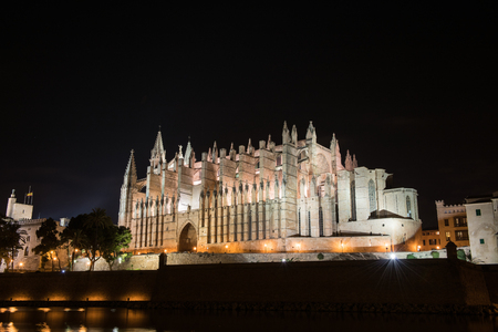 Cathedral of Palma de Majorca brightly illuminated, night shot