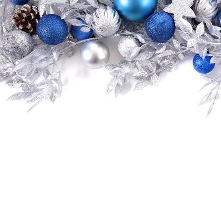 Photo pour Christmas border with blue and silver decorations square - image libre de droit