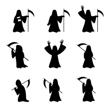 Illustration pour Set of Grim Reaper in silhouette style, vector - image libre de droit