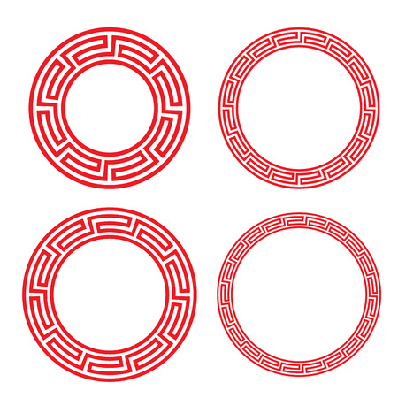 Ilustración de Classic Chinese red circle window and photo frame, vector - Imagen libre de derechos