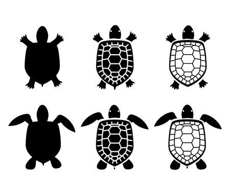 Illustration pour Set of turtle and tortoise icons,top view, vector - image libre de droit