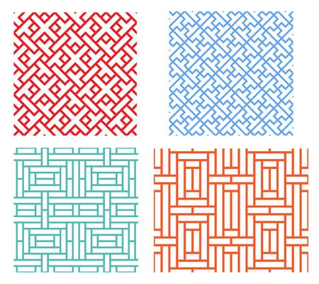 Photo for Seamless retro geometric puzzle pattern in modern asian style - Royalty Free Image