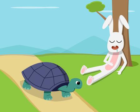 Ilustración de Rabbit sleep under tree while tortoise run on road, vector - Imagen libre de derechos