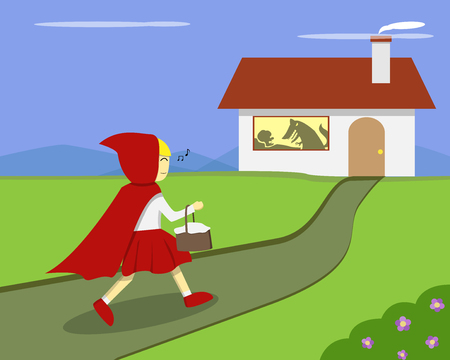 Little Red Riding Hood go to grandma's house, vector