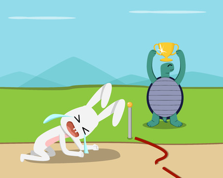 Illustration pour Tortoise win, Rabbit lose at finish line, vector design - image libre de droit