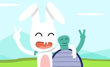 Illustration pour Hare and tortoise take pictures together, vector art design - image libre de droit