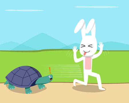 Illustration pour Rabbit ran over the turtle, vector art design - image libre de droit