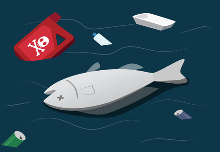 Illustration for Water pollution make dead fish, vector art - Royalty Free Image