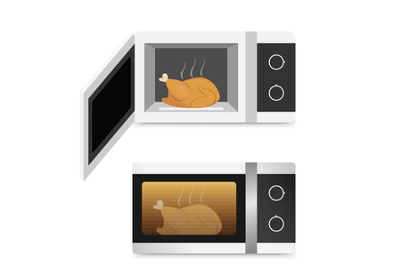 Photo pour Isolated Microwave oven with chicken , vector art - image libre de droit