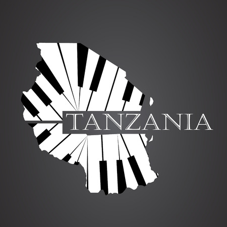 tanzania map made from piano
