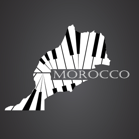 morocco map made from piano