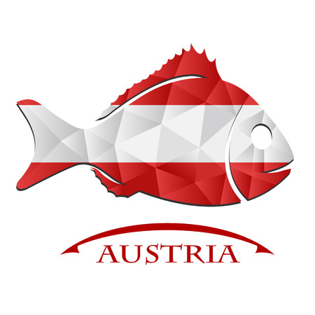 fish logo made from the flag of Austria : Royalty-free