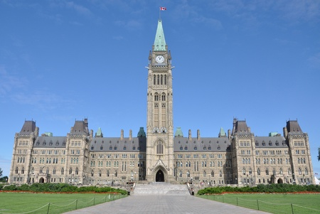 Front facade of Parliament Buildings, Ottawa, Canada
