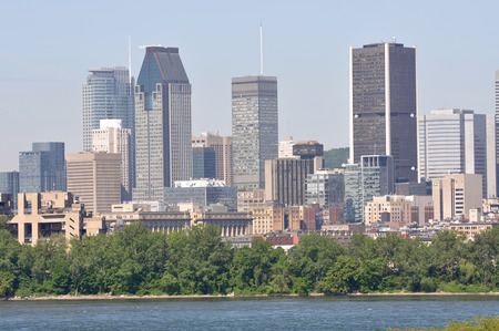 Montreal city skyline, viewed from Ile Notre-Dame, Montreal, Quebec, Canada