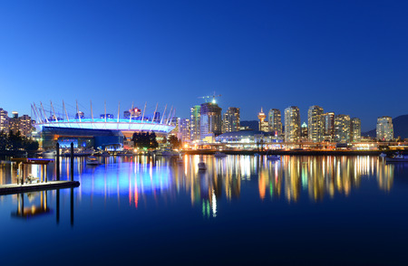 Vancouver City skyline and BC Place Stadium at night, Vancouver, British Columbia, Canada