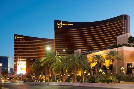 Wynn Las Vegas Hotel and Encore Las Vegas at sunset on Strip in Las Vegas, Nevada, USA.