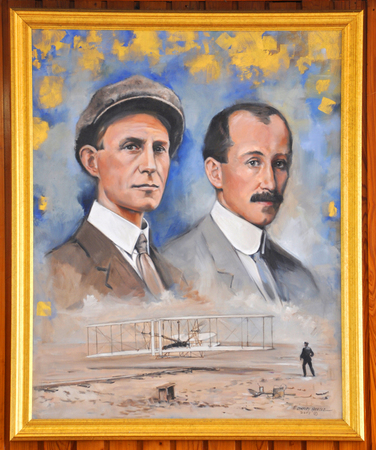 Photo pour Portrait of Wright Brothers in Wright Brothers National Memorial Museum in Kill Devil Hills, North Carolina, USA. - image libre de droit