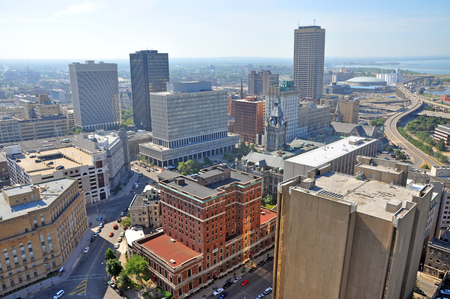 Photo pour Buffalo City aerial view from the top of the City Hall in downtown Buffalo, New York, USA. - image libre de droit