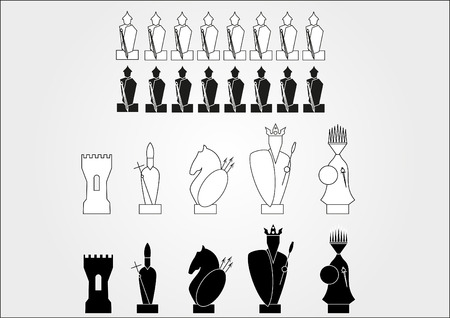 Black And White Knight Chess Pieces Outline