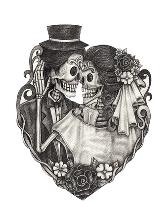 Skull wedding day of the dead hand pencil drawing on paper.