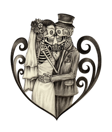 Art wedding skull day of the dead. Hand drawing on paper.