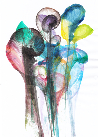 Foto de Art Abstract Flowers .Hand watercolor painting on paper. - Imagen libre de derechos